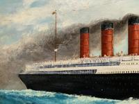 Huge Stunning Antique Seascape Oil Painting of Cunard's RMS Lusitania Ship c.1918 (8 of 16)