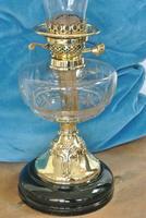 Original Art Nouveau Cut Glass & Brass Oil Lamp - Working Order c.1910