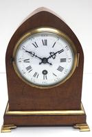 French Lancet Walnut Mantel Clock 8-day Front Wind Mantle (2 of 10)