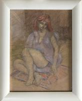 Original pastel 'Seated figure' by Dennis Gilbert NEAC. B.1922. From a studio collection (2 of 2)