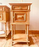 French Antique Oak Bedside Tables / Marble Bedside Cabinets / Nightstands (6 of 6)