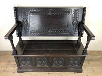 Early 20th Century Stained Oak Monk's Bench (10 of 14)