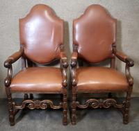 Large Pair of Oak & Leather Armchairs (10 of 11)