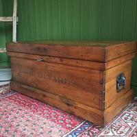 Antique Victorian Pine Chest Rustic Industrial Wooden Trunk + Key + Original Interior (3 of 12)