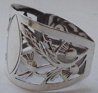 Pair of Walker & Hall Scottish Thistle 1927 Silver Napkin Rings Serviette Ring (6 of 9)
