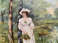 'R.M Stewart' Original Lovely 19thc Elegant Lady Oil Portrait Painting '1886' (7 of 11)
