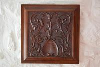Antique Carved Walnut Panel Plaque