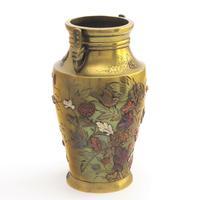 Japanese Meiji Period Large Bronze & Mixed Metal Vase c.1885 (8 of 11)