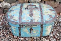Scandinavian / Swedish 'Folk Art' Travel chest in blue paint and ironwork, 18th Century (25 of 37)
