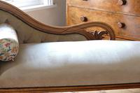 Edwardian Mahogany Framed Chaise Longue with Button Back Upholstery (4 of 12)
