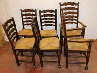 1940s Set 6 Oak Ladderback Dining Chairs Rush Seats. 4+2 (2 of 3)
