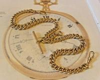 Victorian Pocket Watch Chain 1890 Antique 12ct Rose Rolled Gold Albert & T Bar (3 of 11)