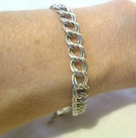 """Vintage Sterling Silver Bracelet 1976 Double Curb With Heart Padlock 7 1/2"""" Length (11 of 11)"""