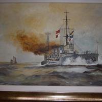 Original Painting of WW1 Battle Cruiser (4 of 5)