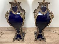 Pair of French Large Rams Heavy Bronze Blue Ceramic Table Lamps (4 of 46)