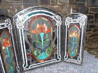 Arts & Crafts Leaded Glass Fire Screen (6 of 14)
