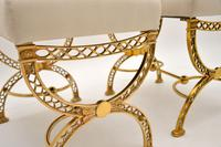 Pair of 1970's Vintage Brass Stools (8 of 9)