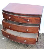 1900's Mahogany Bow Front Chest of Drawers + Crossbanding.Just Polished (2 of 4)