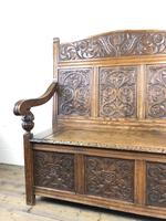 Victorian Carved Oak Settle or Hall Bench (13 of 16)
