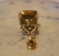 Georgian Pocket Watch Chain Fob 1830s Antique Rose Gilt & Carnelian Stone Fob (10 of 10)