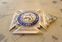 Vintage Sterling Silver Masonic Pocket Watch Chain Fob 1941 Royal Order of Buffaloes (3 of 9)