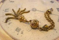 Antique Pocket Watch Chain Tassel Fob 1890s Victorian Long Rose & Yellow Gilt Fob