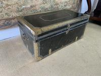 Early 19th Century Green Leather & Brass Bound Traveling Trunk (2 of 5)