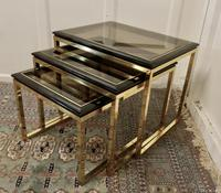 French Art Deco Smoked Glass & Brass Nest of Tables