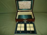 QUALITY Inlaid Figured Walnut Jewellery Box + Tray c.1870 (5 of 14)