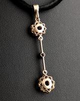 Art Nouveau Ruby & Zircon Drop Pendant, Floral (9 of 10)