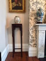 Tall Chinese Hardwood Jardinière Plant Stand with Marble Top (2 of 11)