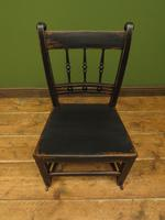 Small Antique Wooden Black Painted Chair, Gothic Shabby Chic (3 of 13)