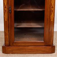 Music Cabinet Glazed Inlaid Walnut Bookcase 19th Century (7 of 10)