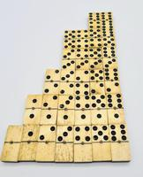 Antique 19th Century Bone & Ebony Double-Six Dominoes W/brass Pins - Complete Set of 28 (3 of 8)