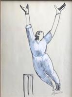 Original Marker Pen Drawing 'Howzat!' by Toby Horne Shepherd - Signed & Dated 75 - Provenance; Helen Shepherd (2 of 2)