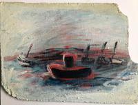 "Original oil painting ''Boats  near Walton on the Naze"" by Doreen Heaton Potworowski. 1930-2014. Initialled c.1965"