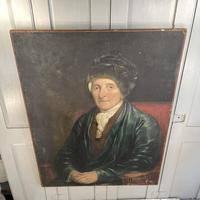 Antique Large Victorian Oil Painting Portrait of Gentleman in Smoking Jacket & Hat (8 of 10)