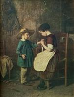 Enchanting Early 1900s Continental Portrait Oil Painting of Maid & Little Boy (7 of 12)