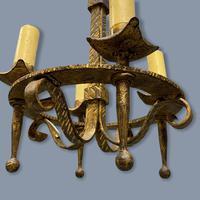 Pair of Gilt Metal Ceiling Pendant Lights (4 of 7)