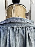 Antique French Faded Blue Linen Biaude Shirt Chemise Smock Size L (7 of 10)
