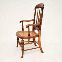 Antique Victorian Carved & Cane Seated Armchair (3 of 11)