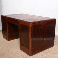 Desk Twin Pedestal Mahogany Leather Art Deco (10 of 12)