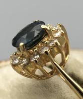18ct Yellow Gold Sapphire & Diamond Cluster Ring. Edinburgh 1981 (2 of 6)