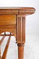 Victorian Gothic Revival Oak Dining Table / Stretcher Table (7 of 13)