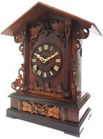 Rare Fusee Cuckoo Mantel Clock – German Black Forest Carved Bracket Clock (8 of 10)