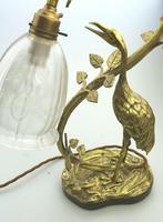 A Good Edwardian Gilt Brass Novelty Heron / Stork Table Lamp C.early 20thc (3 of 7)