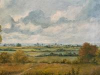 Original 20th Century Vintage English Farmland Country Landscape Oil on Canvas Painting (4 of 14)