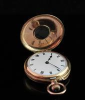 Antique 9ct Gold Half Hunter Pocket Watch, Blue Enamel (6 of 14)