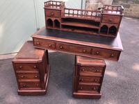 Antique Anglo Indian Teak Pedestal Writing Desk (13 of 13)