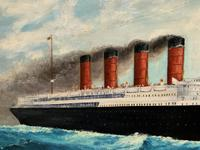 Huge Stunning Antique Seascape Oil Painting of Cunard's RMS Lusitania Ship c.1918 (4 of 16)